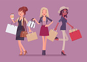 Happy women after shopping. Three elegant ladies buy in a store, glamour female customers carrying purchases, enjoy spending money for new cloth and accessories. Vector flat style cartoon illustration