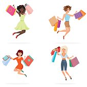 Happy women with shopping bags. Young girls jumping holding packages with purchases. Cartoon vector illustration