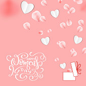 Happy Women's day banner with paper heart and rose petals. Vector 8 March greetings text poster for mother's day. International women's day flyer background template