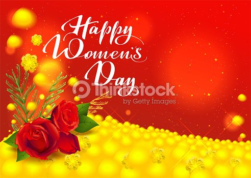 Happy womens day greeting card flowers red rose and yellow mimosa happy womens day greeting card flowers red rose and yellow mimosa handwritten text m4hsunfo