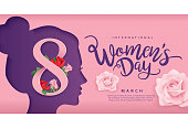International Women's Day poster design with women's side face silhouette and flowers