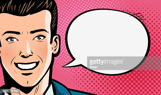 Happy young man in business suit or businessman says. Pop art retro comic style. Cartoon vector illustration : stock vector