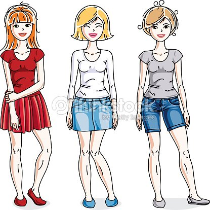 Happy young women posing in stylish casual clothes. Vector people illustrations set.