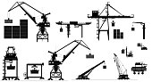 Various types of harbor cargo cranes. Set. Shipping port equipment. Containers. Vector illustration. Black and white silhouettes, isolated