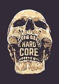 Hard Core Skull Vector Art. Detailed hand drawn illustration of skull on dark background with Hard Core typography. Tattoo style skull art. Grunge weathered illustration. Print design.