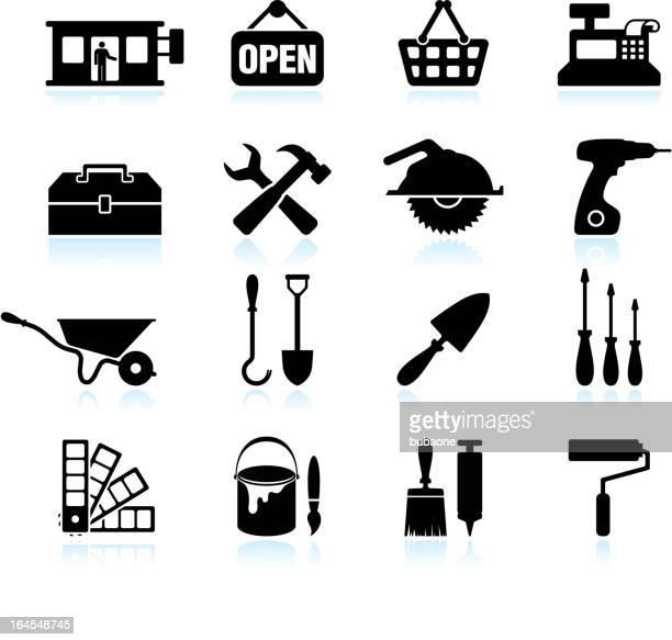 hardware store black & white royalty free vector icon set