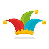 ... Bufón sombrero Aislado en blanco. harlequin hat funny icon vector  illustration design dc655bb67a2