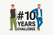 Hashtag 10 years challenge concept flat vector illustration of young men standing near letters comparing the appearance and lifestyle before and after ten years