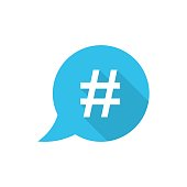 Hashtag vector icon in flat style. Social media marketing illustration on white isolated background. Hashtag network concept.