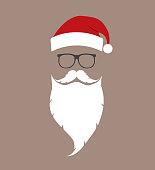 hat, beard and glasses Santa