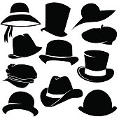 Vector art: hat icon set.