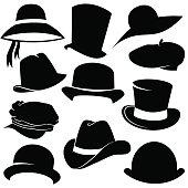 Vector art: hat icon set.