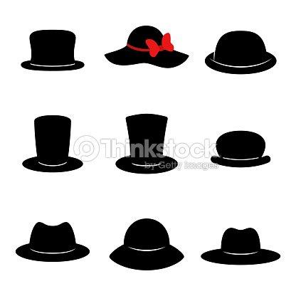 Iconos de sombrero. Colección de sombreros diferentes negro aislado sobre fondo  blanco. Vector de 83f10c0342a