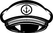 Hat of sea captain isolated on white background. Design elements for label, emblem, sign. Vector illustration