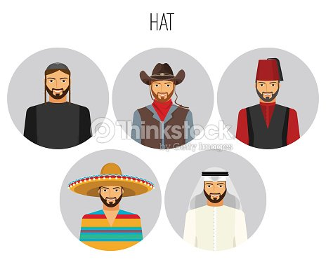 40781d9324878 Hat Types Of Men Poster With Headwear Vector Illustration stock ...