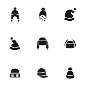 Hat vector icons. Simple illustration set of 9 hat elements, editable icons, can be used in logo, UI and web design