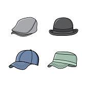 hat collection design, hat illustration design, vector template, icon set