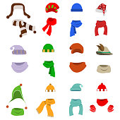 A hat with a scarf, a large set of hats with scarves. Santa's hat. Flat design, vector illustration, vector.