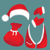Hat with pompon, bag, waistcoat Santa Claus gloves
