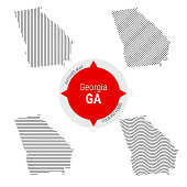 Hatched Pattern Vector Map of Georgia. Stylized Simple Silhouette of Georgia. Four Different Patterns. Illustration Isolated on White Background.