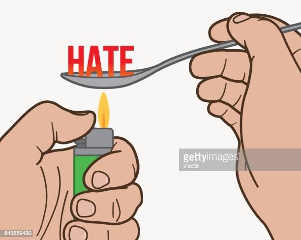 Haat verslaving intolerantie dweperij verslaafde junkie