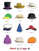 Hats and Caps Colorful Vector Icon Collection 1