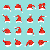 Hats of santa. Big christmas set isolated. Vector of santa claus hat for christmas holiday illustration