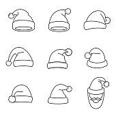 Hats Santa Claus, thin line design. Christmas hat, linear symbols collection.