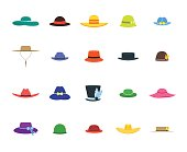 Color Hats Set Fashion for Men and Women. Flat Design Style. Vector illustration