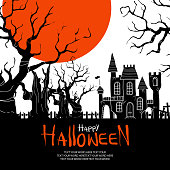 Silhouette haunted trees, a castle and a big orange moon on white background with space for text. Background or poster design for halloween event in vector illustration.