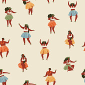 Hawaii dance seamless pattern. Girls playing ukulele and dancing Hula.