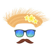 Vector cartoon style tropical Hawaii face element or carnival mask. Decoration item for your selfie photo and video chat filter. Straw hat, sunglasses and mustaches. Isolated on white background.