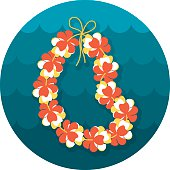 Hawaii flowers necklace, wreath icon. Beach. Summer. Summertime. Holiday. Vacation, eps 10