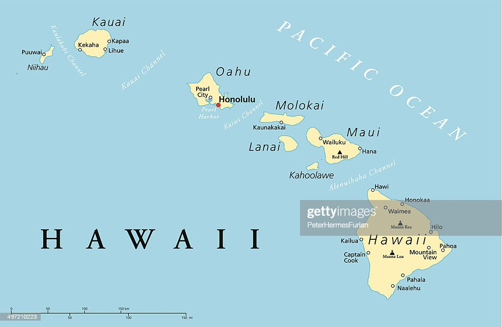 Hawaii Islands Political Map Vector Art Thinkstock