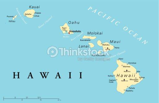 Hawaii Islands Political Map Vector Art Thinkstock