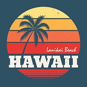 Hawaii Lanikai beach tee print with palm tree. T-shirt design graphics stamp label typography.Vector illustration.