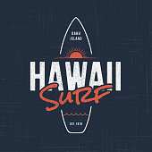 Hawaii surf. T-shirt and apparel vector design, typography, print,  , label, poster Global swatches
