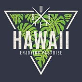 Hawaii tee print with with tropical leaves. T-shirt design graphics stamp label typography.Vector illustration.
