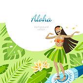 aloha hawaii background with girl on surf flying over the leaves dancing hula dance