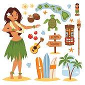 Vector vintage set of hawaiian icons and symbols. Hawaii beautiful girl coconut cocktail sandy beach. Hawaii palm tree beach symbols. Vintage fun pacific hawaiian flower, beautiful turquoise.
