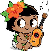 Vector illustration of a cute Hawaiian baby wearing a grass skirt, diaper, hibiscus flowers and garland playing music with her ukulele.