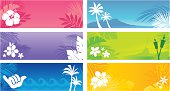 Tropical banners with an island theme. Professional clip art for your print project or Web site.