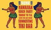Hawaiian beach party tiki bar flyer design, hula dancers, hula girl, exotic island