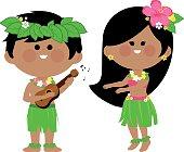 Vector illustration of a Hawaiian boy playing music with his guitar and a Hawaiian hula dancer girl dancing.