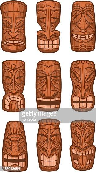 Hawaiian tiki god statue carved polynesian tikki ku wood