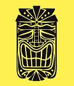 Hawaiian tiki mask vector design, exotic polynesian decorative element