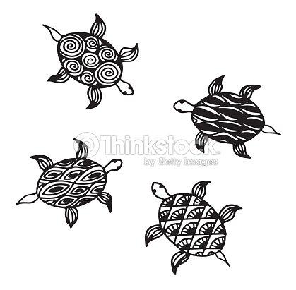 Colección De Tortugas Marinas De Carey Ilustración Para Colorear ...