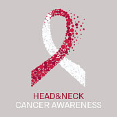 Head and neck cancer awareness poster with white and burgundy ribbon made of dots on light background. Medical concept. Vector illustration.