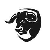 Head of a bull, monochrome symbol. Vector illustration