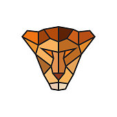 Head of a Lioness. Logo template for business. Abstract head. Colorful polygonal style. Vector illustration.